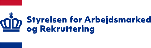 Logo fra Styrelsen fra Arbejdsmarked og Rekruttering